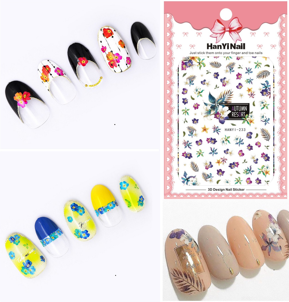 Hanyi233-241 Ultra-Thin Japanese-style 3D Nail Decals With Gum Nail Sticker Nail Ornament
