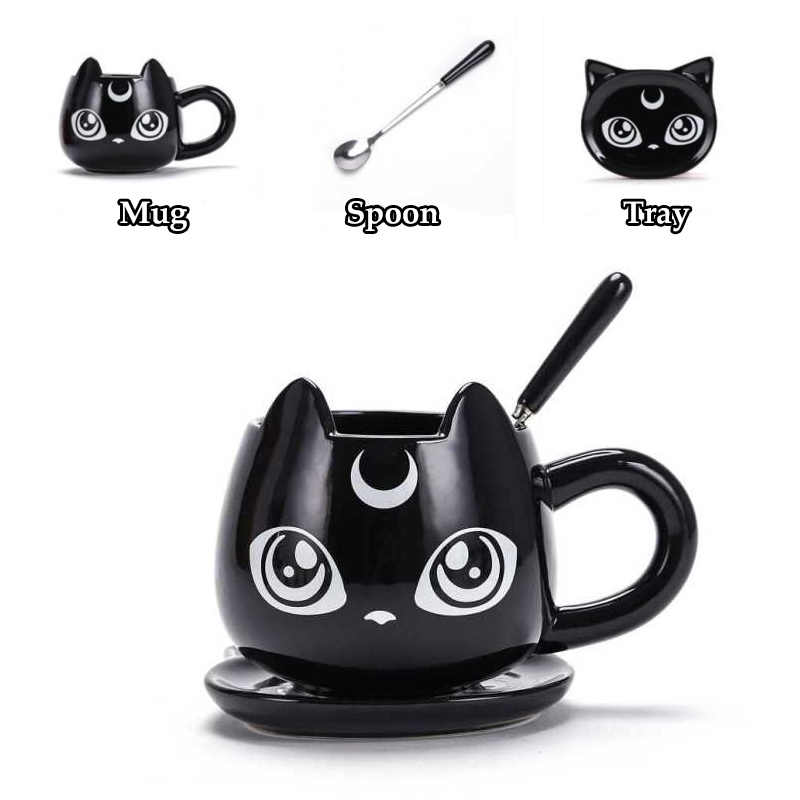 2019 New Creative Black Cat Ceramics Mugs Kids Breakfast Milk Cartoon Cups Office Afternoon Tea Coffee Mug with Tray