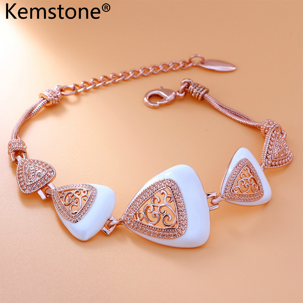 Kemstone Rose Gold Color Filigree White Plated Adjustable Chain Link Bracelets Jewelry For Womens Gift,7.68″