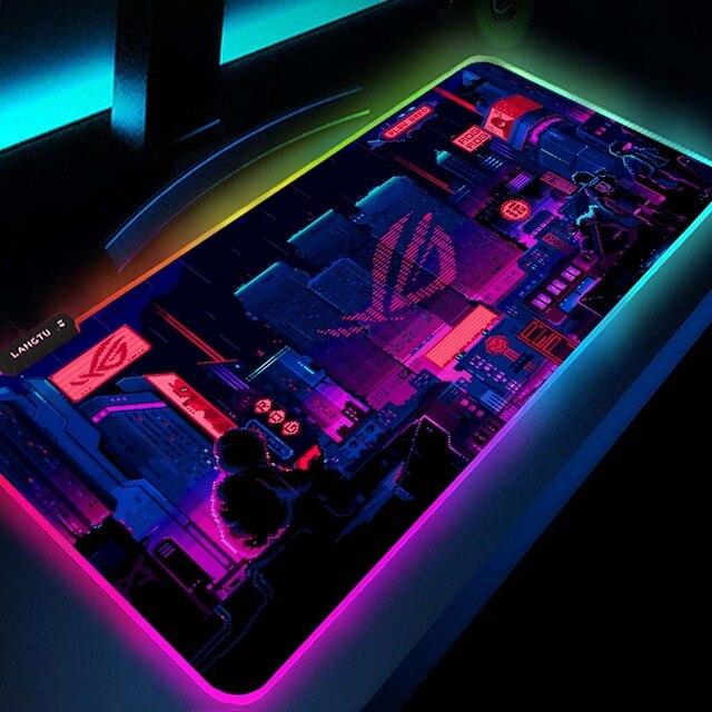 Ville Asus Rog Pc accessoires Rgb Led tapis de souris tapis de jeu configuration de jeu Mesa Gamer rétro éclairé tapis république des joueurs tapis de souris
