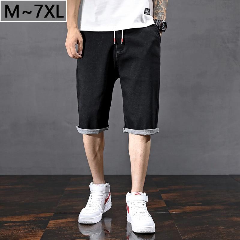 Big Size 7XL Men Clothes New Summer Denim Cotton Shorts Elastic Waist Casual Jeans Men's Loose Man Black Short Large Size 46