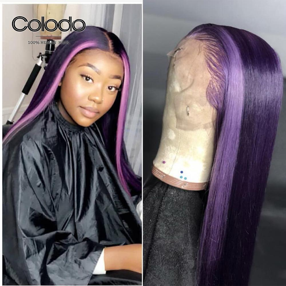 COLODO Highights Purple Lace Front Human Hair Wigs Pre Plucked Baby Hair Brazilian Remy Orange Red Straight Wigs For Women