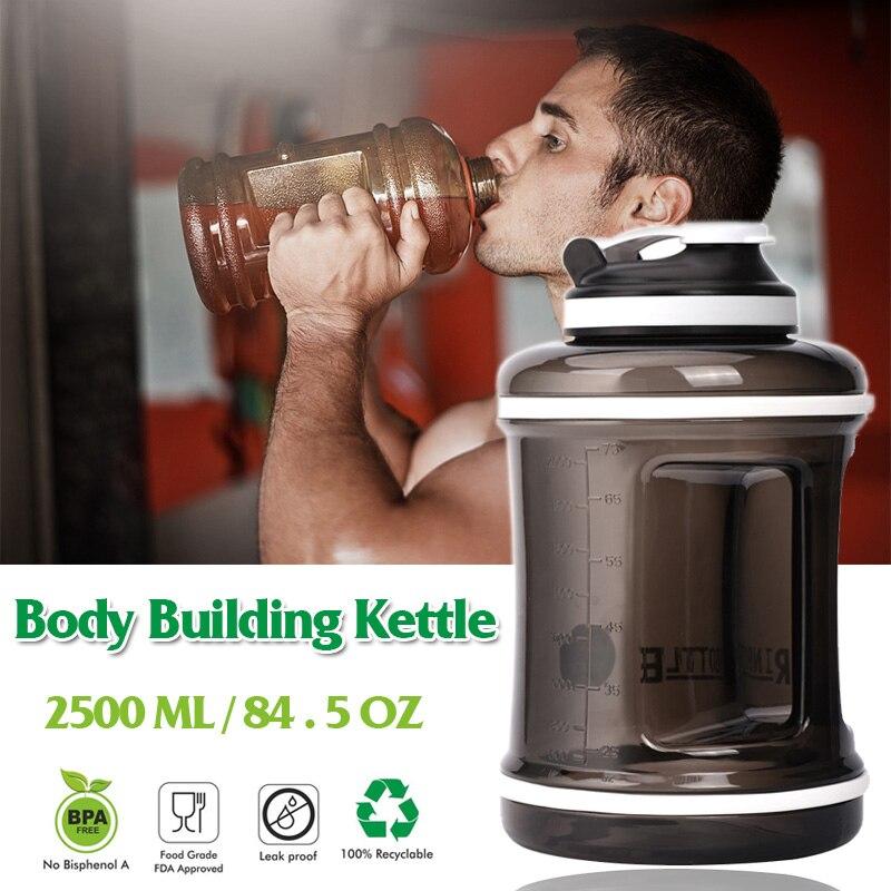 2,5л/85 унций открытый высокой емкости водные бутылки для тренажерного зала BPA шейкер для протеина Водонепроницаемая бутылка пластиковая руч...