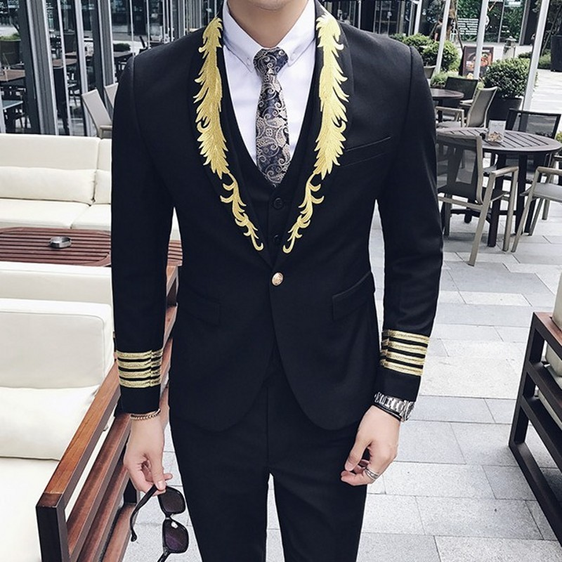 Palace Style Personality Embroidery Slim Mens Blazer Korean Fashion Long Sleeve Double Breasted Male Outerwear Coats Plus Size