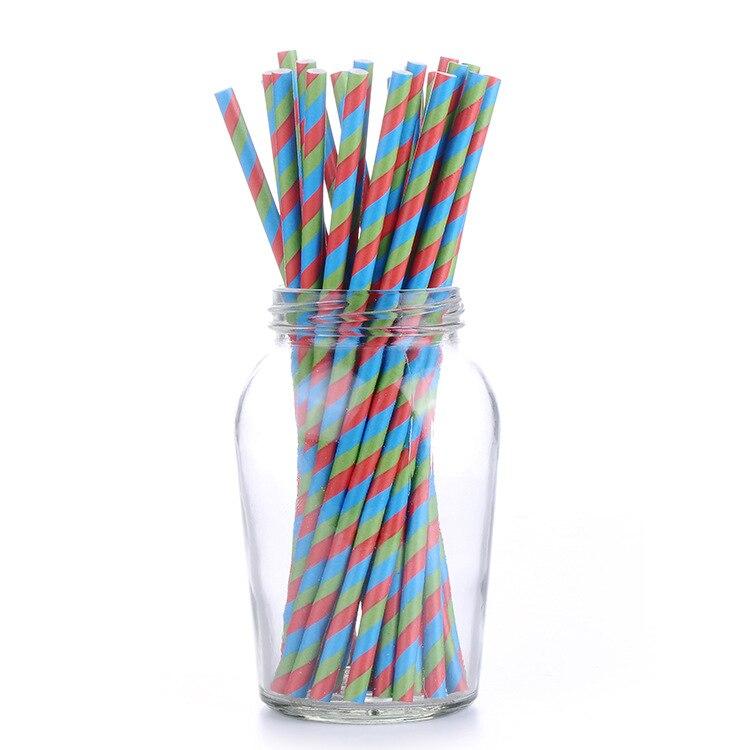 Disposable PLA Paper Sucker Multi-color Stripe Summer Beach Party Fruit Juice Paper Absorbs Tube America FDA Lfgb