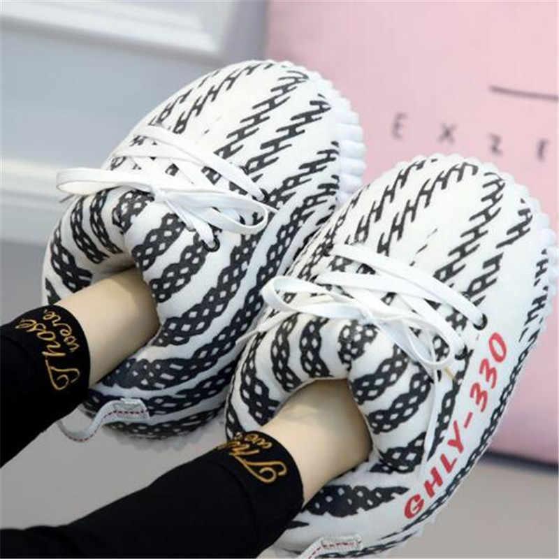 Feminino/masculino inverno sapatos de algodão bonito dos desenhos animados animal quente casa sapatos de pelúcia mulher masculino espuma tênis pão chinelos de gordura tamanho 36-43