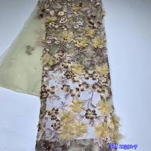 2020 Top grade African handmade beaded stones 3D french net lace high quality embroidered flowers applique mesh tulle materials cheap NoEnName_Null 100 Polyester TM11391-7 Beads 110-120cm Eco-Friendly 3D lace fabric 3D flower lace 3D applique lace African lace fabric Nigerian lace fabrics