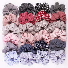 CN Hair Accessories Chiffon Dot Ribbon Scrunchie For Girls Elastic  Riband Intestine Ties Print Bands Women