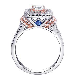 Image 3 - Newshe kobiet stałe 925 Sterling Silver Halo różowe złoto kolor zestaw obrączek ślubnych niebieskie kamienie boczne Upmarket biżuteria BR0760