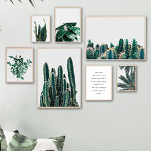 Palm Leaf Cactus Quote Green Plant Wall Art Canvas Painting Nordic Posters And Prints Wall Pictures For Living Room Home Decor