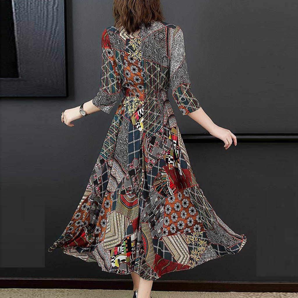 Taille haute robe à col en v printemps trois quarterie manches Vintage imprimé robe a-ligne dames élégant Maxi robes de soirée # LR1