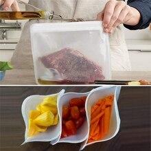 PEVA Food Storage Bag Containers Reusable Freezer Leakproof Top Ziplock Silicone Bags Kitchen Organizer