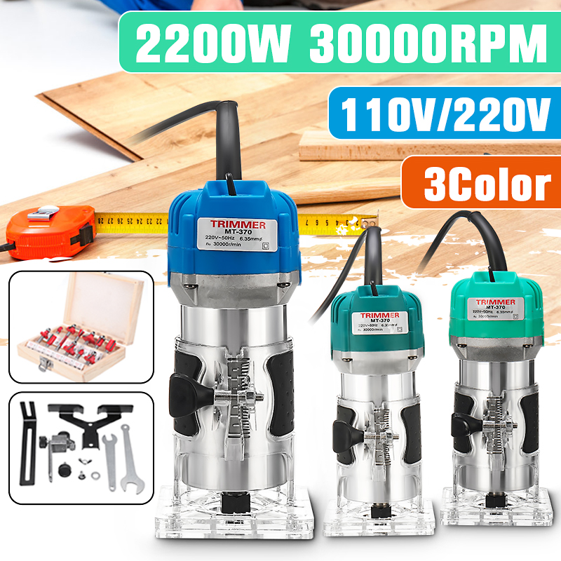 2200W Electric Hand Laminate Edge Trimmer Wood Router 1/4'' Collet Carving Machine Carpentry Woodworking Power Tools