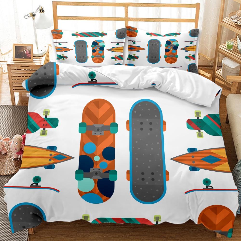 3DPrinting de dibujos animados Skateboard patrón de ropa de cama de 220 × 240 funda nórdica con funda de almohada 200 × 230 funda de edredón niño manta cubierta