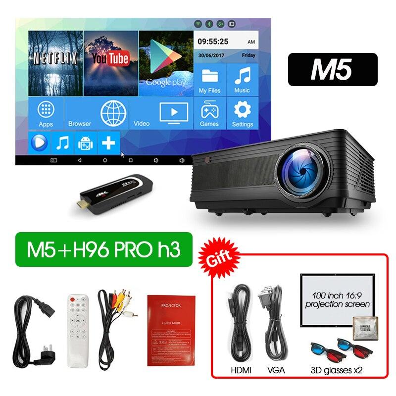 ALSTON M5 M5W Full HD 1080P проектор 4K 6500 люмен кинопроектор проектор Android WiFi Bluetooth hdmi VGA AV USB с подарком - Цвет: M5 H96PROH3
