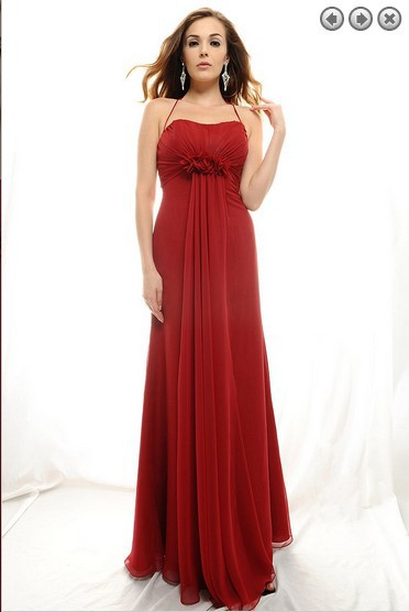 free shipping new fashion 2016 hot elegant plus brides maid vestidos formales red long prom gown Halter Chiffon evening dresses