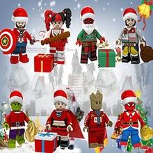Christmas Halloween Figures Santa Claus Grinch Joker Deadpool Darth Vader Harley Quinn Building Blocks Bricks Toys for Children