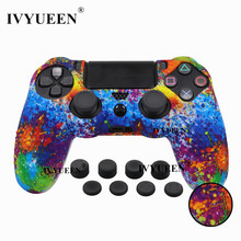 IVYUEEN 9 in 1 Studded Silicone Protective Skin Case for Sony Dualshock 4 PS4 Pro Slim Controller with 8 Analog Stick Grips Cap