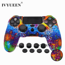 IVYUEEN 9 in 1 Studded Silicone Protective Skin Case for Sony Dualshock 4 PS4 Pro Slim Controller with 8 Analog Stick Grips Cap(China)