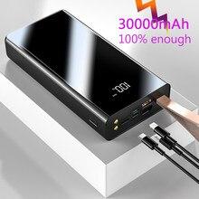 Batterie externe de batterie de puissance d'usb de la banque d'alimentation 30000mAh double avec l'affichage LED chargeur portatif rapide pour Xiaomi pour l'iphone