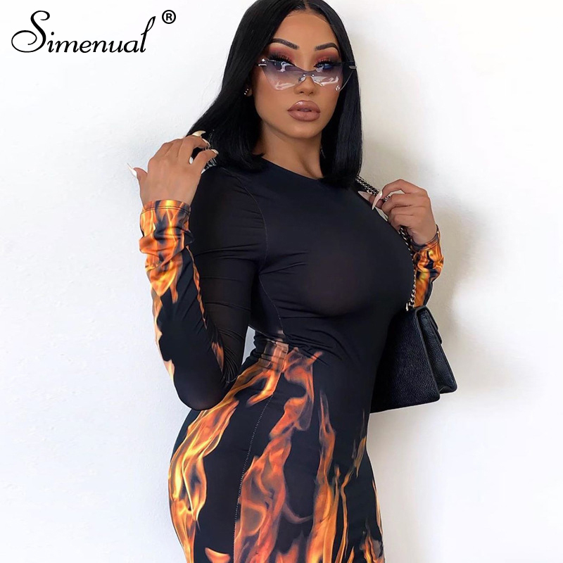 Simenual Fashion Women Bodycon Dress Flame Printed Long Sleeve Sexy Midi Dresses Autumn 2019 Skinny Slim Female Hot Party Dress