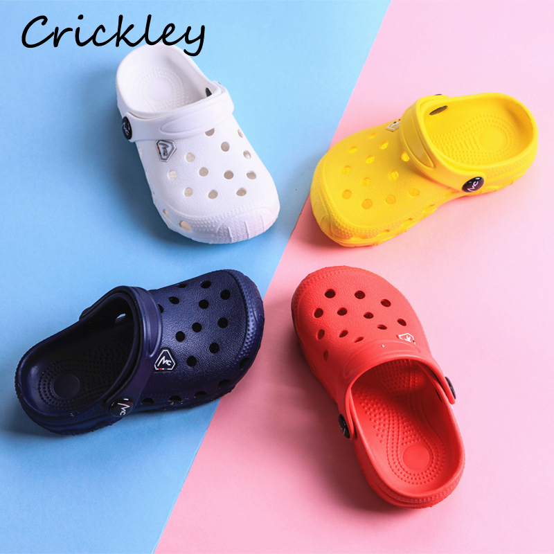 Summer Kids Croc Shoes For Boys Girls Solid Light Non Slip Children Garden Shoes Toddler Indoor Home Beach Slippers Sandals