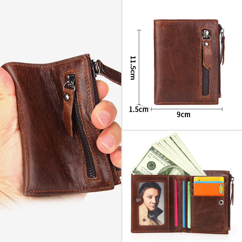 Купить с кэшбэком Cobbler Legend Genuine Leather Men Women Card Coin Key Holder Zip Pouch Bag Purse Mini Pouch Zipper Popular Small Money Wallet