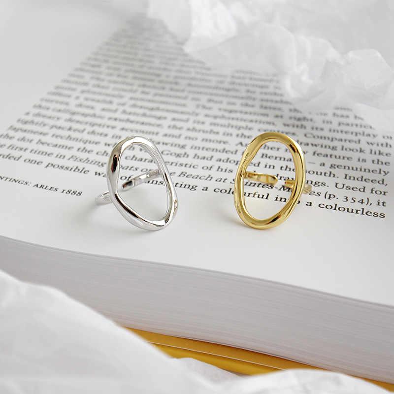 XIYANIKE 925 ayar gümüş düzensiz Hollow açılış yüzükler kadınlar için çift moda basit geometrik parti takı hediye