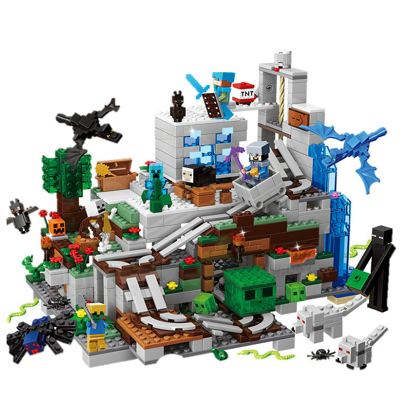 Mountain Cave Small Version Building Block With Action Figures Compatible MinecraftINGlys 21137 My World Bricks Set Gifts Toys
