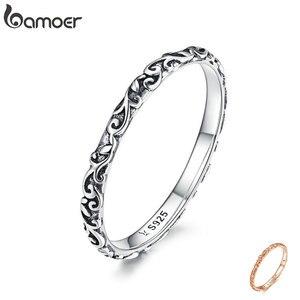 Image 1 - Кольцо с гравировкой BAMOER, настоящее 925 пробы, серебро, черный, тибетское серебро, маленькие кольца на палец, унисекс, ювелирные украшения SCR513