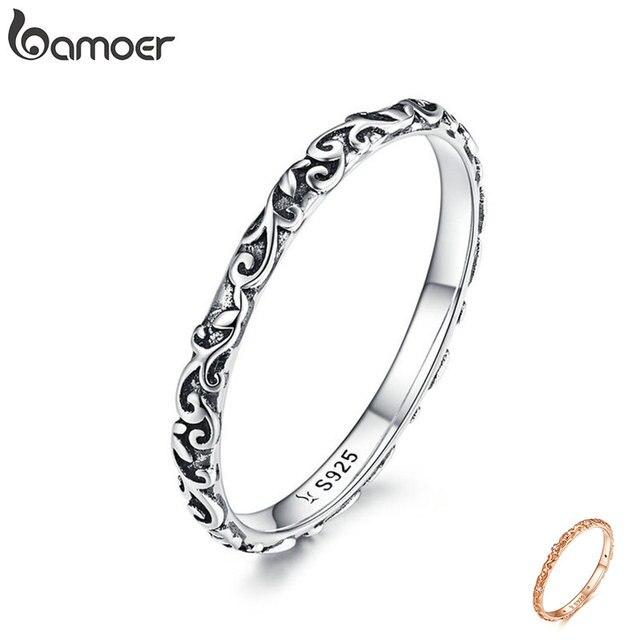 Кольцо с гравировкой BAMOER, настоящее 925 пробы, серебро, черный, тибетское серебро, маленькие кольца на палец, унисекс, ювелирные украшения SCR513