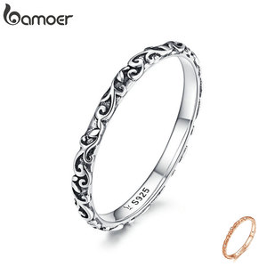 Image 1 - BAMOER Engraved Pattern Ring Real 925 Sterling Silver Black Tibetan Silver Small Finger Rings Unisex Fine Jewelry SCR513
