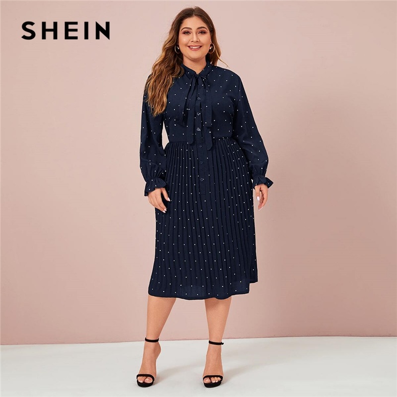 SHEIN Plus Size Navy Polka Dot Tie Front Pleated Shirt Dress Women Spring Long Sleeve Solid A-line Elegant Office Long Dresses