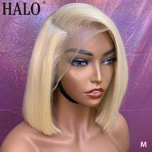 613 Blonde Lace Front Wigs Natural Straight Brazilian 100%Human Hair Short Bob Human Hair Wig 13x6 Lace Frontal Wig 150 Density(China)
