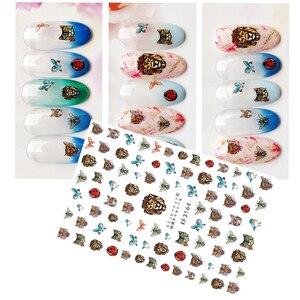 Image 3 - DIY Schlange Leopard Nagel Aufkleber Selbst adhesive 3D Nail art Aufkleber Decals Tipps Maniküre Nail art Decals LIEBE Brief für Dekoration