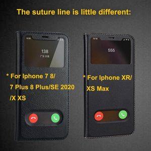 Image 5 - Echt Leer Case Voor Iphone 7 8 Plus Case Voor Xs Max Cover Window View Bescherming Coque Voor Iphone X xr Se 2020 Gevallen Fundas