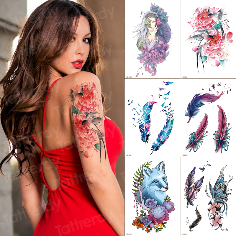 Tattoo Watercolor 6pcs/set Swallow Tattoo Sticker Flower Feather Wolf Temporary Fashion Tattoos For Girls Women Arm Sleeve Tatoo
