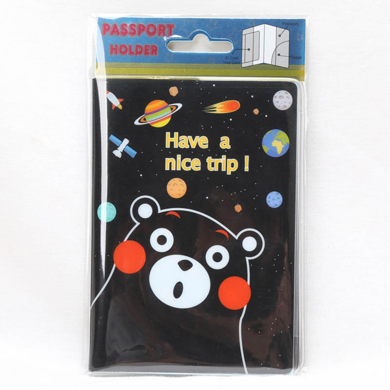 Travel Accessories Cartoon Black Bears Passport Holder PVC Leather Travel Passport Cover Case Card ID Holders 14cm*9.6cm