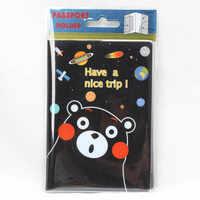 Travel Accessories Cartoon Black Bears Passport Holder PVC Leather Travel Passport Cover Case Card ID Holders 14cm*9.6cm