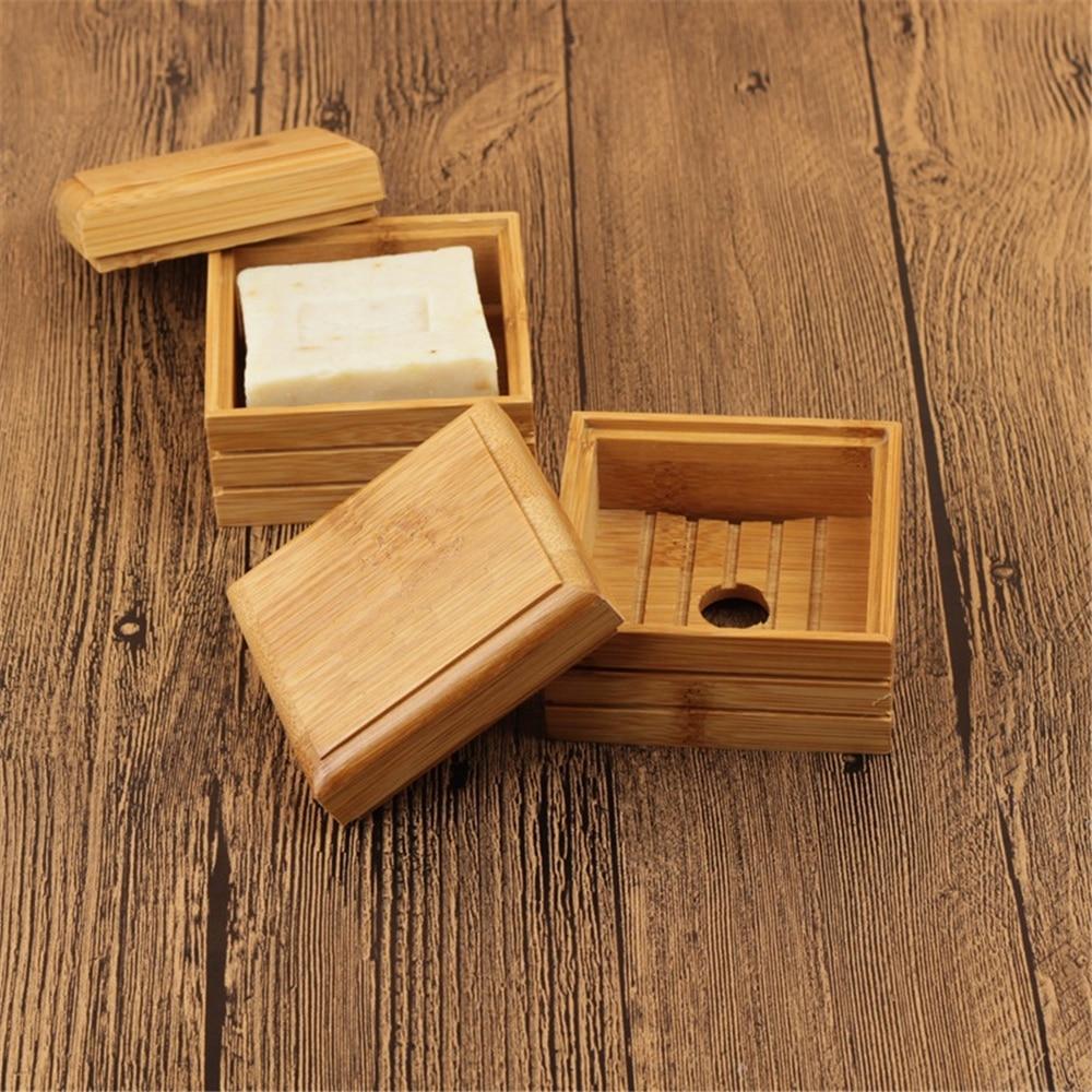 New Portable Bamboo Soap Dishes Creative Simple Manual Drain Soap Box Bathroom Bathroom Soap Box Wooden Soap Tray Holder