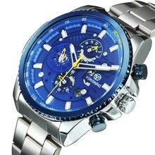 ספורט שעונים לגברים שעונים אוטומטיים Mens 2020 צבאי שעון פונקציה רב כחול נירוסטה רצועת לוח שנה Reloj Hombre