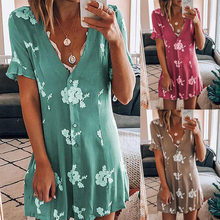 Summer V-neck Loose Print Dress Elegant Commuting Mid-length Short-sleeved Dress Casual Vacation Dating Beautiful Woman's Dress
