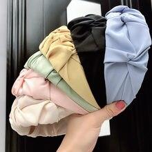 Korea satynowe jedwabne pomarszczone opaski kobiety cukierki kolor Hairbands szerokie rondo wiązane obręcz do włosów pałąk Turban do włosów akcesoria