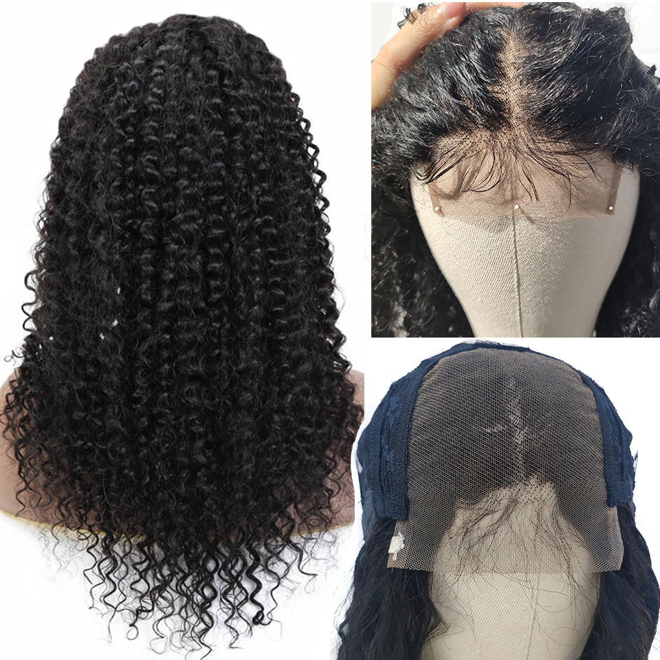 EMOL Brazilian Kinky Curly Hair Wig 4*4 Remy Human Hair Wigs For Black Women 150% Density Lace Closure Wig With Baby Hair