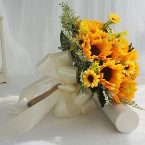 Image 2 - Artificial Bridal Wedding Bouquet Romantic Handmade Bright Sunflower Linen Rope Handle Satin Ribbon Church Party Home Decoration