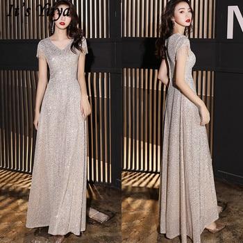It's YiiYa Evening Dress V-Neck Short Sleeve Sequined A-Line Evening Dress 2020 Floor-Length Plus Size Robe De Soiree K154
