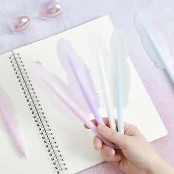 4 pièces souple silicone couleur plume stylo bille 0.5mm encre noire gel stylos signature décoration bureau accessoires école F694