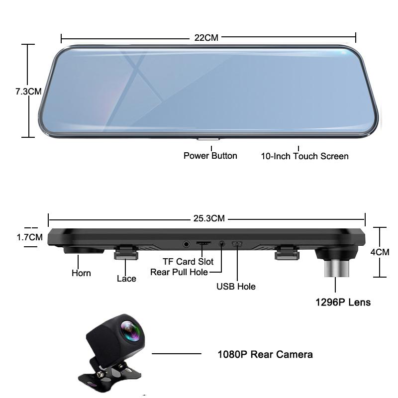 Dual 1080P 4G Android 8.1 10 Inch Stream Media Car Rearview Mirror Bluetooth Camera Car Dvr ADAS Super Night WiFi GPS Dash Cam 6