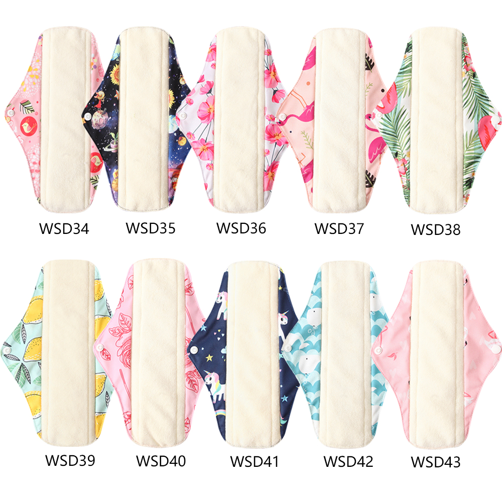 Ohbabyka 5PCS Health Feminine Hygiene Bamboo Women Panty Liner Absorbent Reusable Menstrual Pads Washable Cloth Sanitary Pads