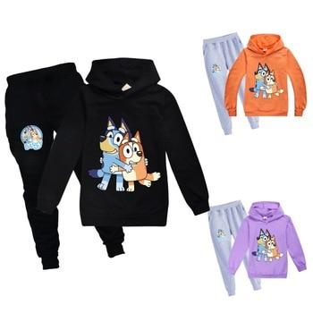 De dibujos animados Bingo azul perro niñas conjuntos de ropa para niños trajes ropa niños Casual 2020 atuendo para niños conjuntos de suéter + Pantalones